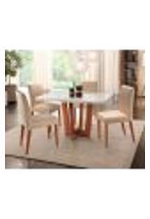 Conjunto De Mesa De Jantar Com 4 Cadeiras Talia Veludo Off White E Creme