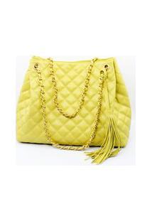 Bolsa Crisfael Em Couro 0015 Amarelo
