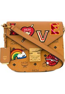 Mcm Patricia Love Patch Shoulder Bag - Marrom