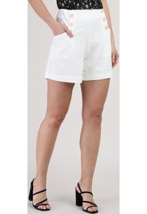 Short Feminino Cintura Alta Com Bolsos E Botões Branco