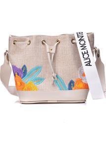 Bolsa Alice Monteiro Saco Palha Floral Off White
