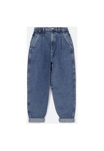 Calça Baggy Jeans Com Pregas Frontais E Bolso Faca Com Recorte No Espelho Do Bolso | Blue Steel | Azul | 34