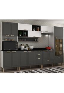 Cozinha Completa 10 Peças Americana Multimóveis 5654 Branco/Grafite