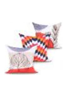 Kit Capa Almofada Estampada Decorativa Para Quarto Ou Sala Laranja Kit Com 3 Unidades 45Cm X 45Cm Com Zíper