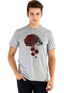Camiseta Ouroboros Manga Curta Roses - Skull - Masculino-Cinza