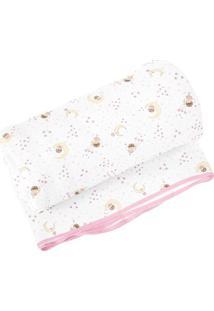 Cobertor Estampado- Branco & Rosa Claro- 90X110Cm