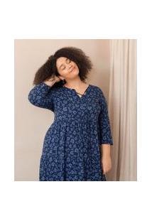 Vestido Midi Estampa Floral Curve & Plus Size | Ashua Curve E Plus Size | Azul | G