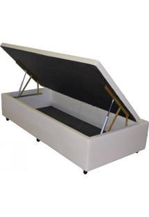 Cama Box Baú Master Box Solteirão 106 X 188 X 44 Maior Abertura Do Mercado - Corino Bege
