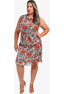 Vestido Midi Plus Size Estampado Floral D'Laport