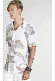 Camisa Masculina Estampada De Folhagens Manga Curta Off White