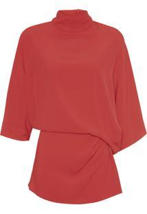 Blusa Feminina De Crepe Basque Gola Color - Vermelho