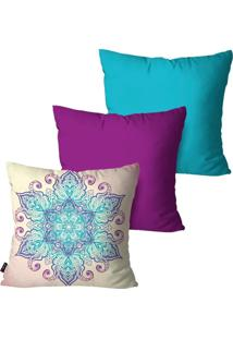 Kit Com 3 Capas Para Almofadas Pump Up Decorativas Turquesa Sweet Flower 45X45Cm - Azul - Dafiti