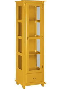 Cristaleira Com Porta E Lateral De Vidro 1 Gaveta Amarela