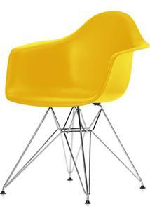 Cadeira Eames Com Braco Base Cromada Amarelo Fosco - 24498 - Sun House