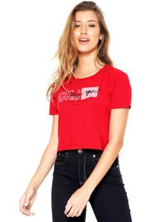 ... Camiseta Cropped Calvin Klein Jeans New York Vermelha 6700412b949