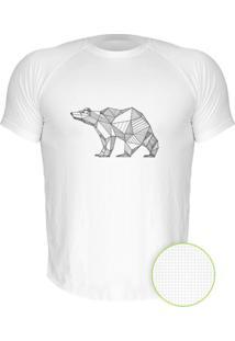 Camiseta Manga Curta Nerderia Urso Geometrico Branco