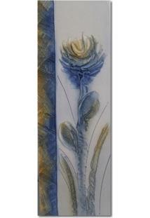 Quadro Artesanal Com Textura Crisantemo Azul 20X60 Uniart