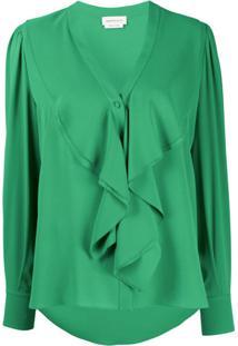 Alexander Mcqueen Ruffled Silk Blouse - Verde