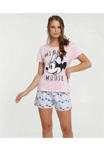 Pijama Estampa Minnie Manga Curta Disney Feminino - Feminino-Rosa+Azul