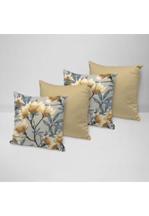 Kit 4 Capas Para Almofadas Decorativas Flor Amarela 45X45Cm