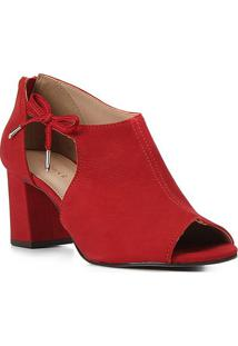 Sandal Boot Couro Shoestock Laço Salto Bloco Feminina - Feminino-Vermelho