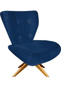 Poltrona Decorativa Tathy Suede Azul Marinho Com Base Giratória De Madeira - D'Rossi