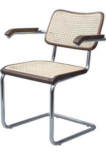 Cadeira Cesca Palha Natural Com Braco Madeira Escura Cromada - 59425 - Sun House