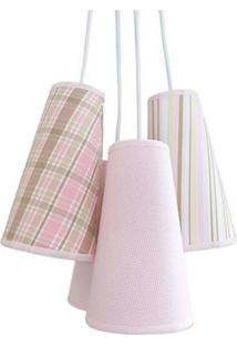 Luminária Cacho Menina Crie Casa Rosa E Bege