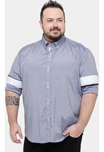Camisa Blue Bay Plus Size Mini Print Gravataria Masculina - Masculino