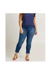 Calça Plus Size Feminina Jeans Cigarrete Barra Desfiada