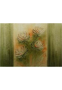 Quadro Artesanal Com Textura Margarida Verde 70X100 Uniart