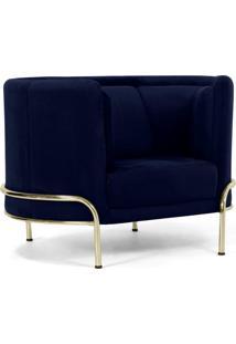 Poltrona Decorativa Base De Aã§O D'Ouro Luminne Veludo Azul Marinho B-287 - Lyam Decor - Azul - Dafiti