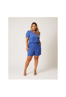 Shorts Liso Almaria Plus Size Ela Linda Bolso-Faca Azul