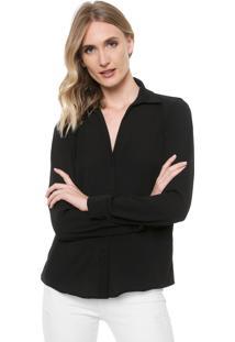 Camisa Ana Hickmann Texturizada Preta