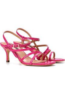 Sandália Couro Jorge Bischoff Multi Tiiras Feminina - Feminino-Pink