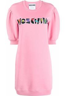 Moschino Vestido Reto Com Detalhe De Logo - Rosa