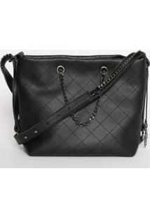 Bolsa Texturizada Com Bag Charm- Preta- 24X32X12Cm