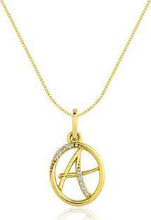 Pingente Letra A Ouro Amarelo E Diamantes 15 Mm