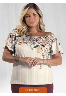 Blusa Plus Size Ciganinha Secret Glam Bege