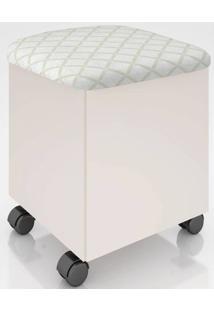 Puff Com Bau Rubi Cor Off White Com Assento Geometrico Losango - 52624 - Sun House
