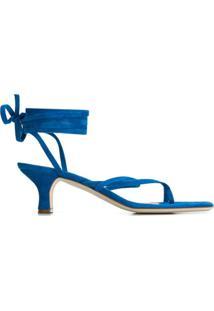 Paris Texas Sandália Com Amarração E Salto 45Mm - Azul