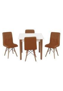 Conjunto Mesa De Jantar Luiza 80Cm Branca Com 4 Cadeiras Gomos - Marrom