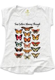 Camiseta Cool Tees Borboletas True Collors Feminina - Feminino-Mescla Claro