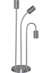 Abajur Retro - Luminaria De Mesa Para 03 Lâmpadas - Ideal Para Sala - Inox