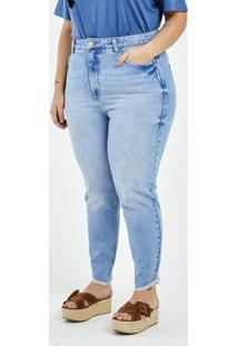 Calça Jeans Mom Com Barra Desfiada Curve & Plus Size