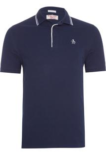 Polo Penguin Slim Fit Stripe Collar Azul Marinho