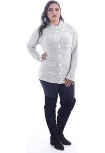 Casaco Saes Tricô Tricot Plus Size Militar Feminino - Feminino-Off White