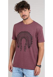 Camiseta Masculina Cocar Manga Curta Gola Careca Vinho