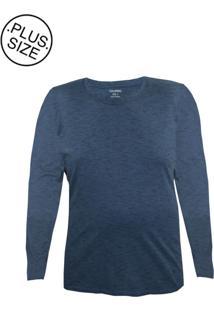 Camiseta Gajang Sem Costura Gigante Azul.Mescla