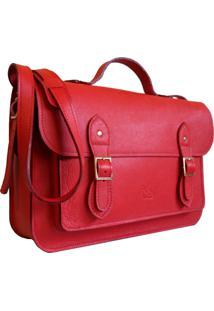 Bolsa Line Store Leather Satchel Grande Couro Vermelho. - Kanui